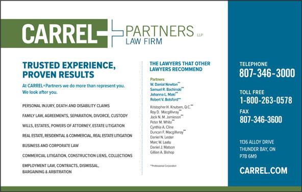 CARREL + Partners LLP (807-346-3000) - Display Ad -