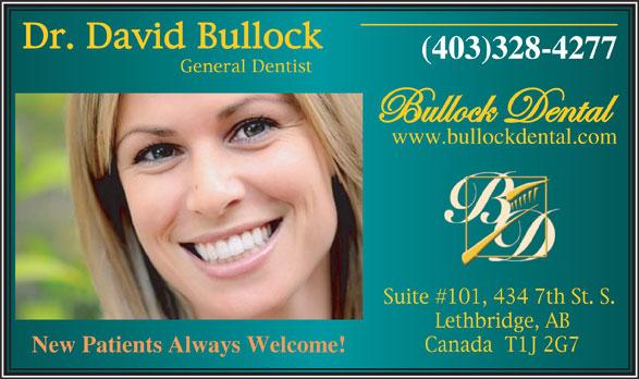 Bullock Dental (403-328-4277) - Annonce illustrée======= - (403)328-4277 www.bullockdental.com New Patients Always Welcome!