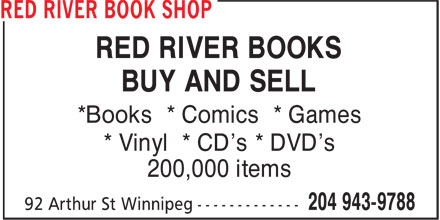 Red River Book Shop (204-943-9788) - Display Ad - RED RIVER BOOKS BUY AND SELL *Books * Comics * Games * Vinyl * CD's * DVD's 200,000 items