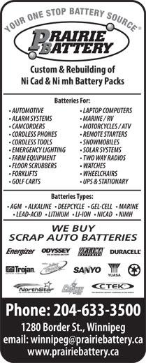Prairie Battery (204-633-3500) - Annonce illustrée======= - WE BUY WE BUY SCRAP AUTO BATTERIES SCRAP AUTO BATTERIES