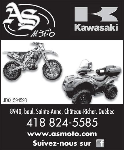 As Moto (418-824-5585) - Annonce illustrée======= - 418 824-5585 www.asmoto.com Suivez-nous sur JDQ1594593 8940, boul. Sainte-Anne, Château-Richer, Québec