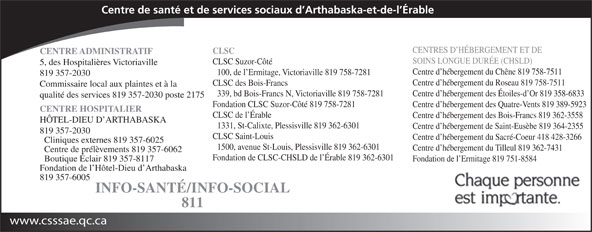 Centre de santé et de services sociaux d'Arthabaska-et-de-l'Erable (819-357-2030) - Annonce illustrée======= - Centre d hébergement du Tilleul 819 362-7431 Centre de prélèvements 819 357-6062 Fondation de CLSC-CHSLD de l Érable 819 362-6301 Boutique Éclair 819 357-8117 Fondation de l Ermitage 819 751-8584 Fondation de l Hôtel-Dieu d Arthabaska 819 357-6005 INFO-SANTÉ/INFO-SOCIAL 811 www.csssae.qc.ca 1500, avenue St-Louis, Plessisville 819 362-6301 Centre de santé et de services sociaux d Arthabaska-et-de-l Érable CENTRES D HÉBERGEMENT ET DE CLSC CENTRE ADMINISTRATIF SOINS LONGUE DURÉE (CHSLD) CLSC Suzor-Côté 5, des Hospitalières Victoriaville Centre d hébergement du Chêne 819 758-7511 100, de l Ermitage, Victoriaville 819 758-7281 819 357-2030 Centre d hébergement du Roseau 819 758-7511 CLSC des Bois-Francs Commissaire local aux plaintes et à la Centre d hébergement des Étoiles-d Or 819 358-6833 339, bd Bois-Francs N, Victoriaville 819 758-7281 qualité des services 819 357-2030 poste 2175 Fondation CLSC Suzor-Côté 819 758-7281 Centre d hébergement des Quatre-Vents 819 389-5923 CENTRE HOSPITALIER CLSC de l Érable Centre d hébergement des Bois-Francs 819 362-3558 HÔTEL-DIEU D ARTHABASKA 1331, St-Calixte, Plessisville 819 362-6301 Centre d hébergement de Saint-Eusèbe 819 364-2355 819 357-2030 CLSC Saint-Louis Centre d hébergement du Sacré-Coeur 418 428-3266 Cliniques externes 819 357-6025