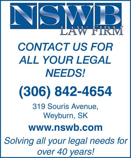 NSWB Law Firm (306-842-4654) - Annonce illustrée======= -
