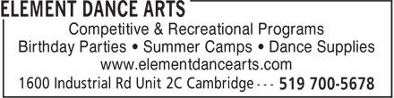 Element Dance Arts (519-700-5678) - Display Ad -