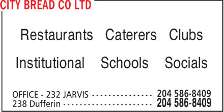 City Bread Co Ltd (204-586-8409) - Display Ad - Restaurants Caterers Clubs Institutional Schools Socials