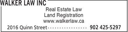 Walker Law Inc (902-425-5297) - Annonce illustrée======= - Real Estate Law Land Registration www.walkerlaw.ca