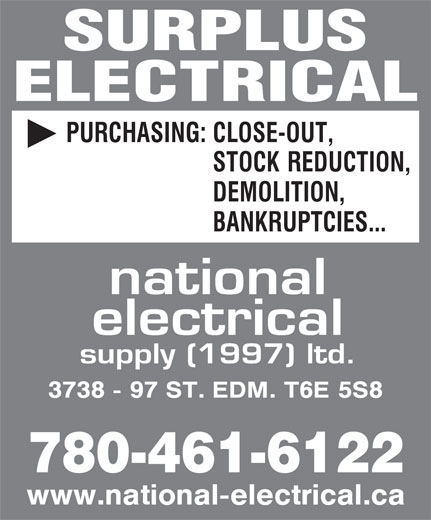 National Electrical Supply (1997) Ltd (780-461-6122) - Display Ad - SURPLUS ELECTRICAL 780-461-6122