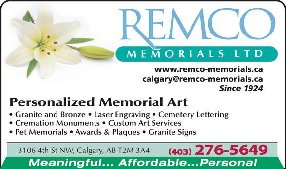 Remco Memorials Ltd (403-276-5649) - Annonce illustrée======= - www.remco-memorials.ca Since 1924 3106 4th St NW, Calgary, AB T2M 3A4 (403) 276-5649