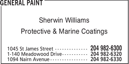 General Paint (204-982-6300) - Annonce illustrée======= - Sherwin Williams Protective & Marine Coatings