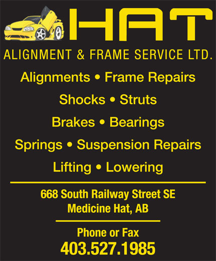 Hat Alignment & Frame Service Ltd (403-527-1985) - Display Ad - ALIGNMENT & FRAME SERVICE LTD.