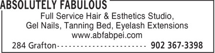 Absolutely Fabulous (902-367-3398) - Annonce illustrée======= - Gel Nails, Tanning Bed, Eyelash Extensions www.abfabpei.com Full Service Hair & Esthetics Studio,