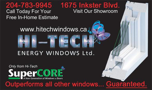 Hi-Tech Energy Windows Ltd (204-783-9945) - Annonce illustrée======= -