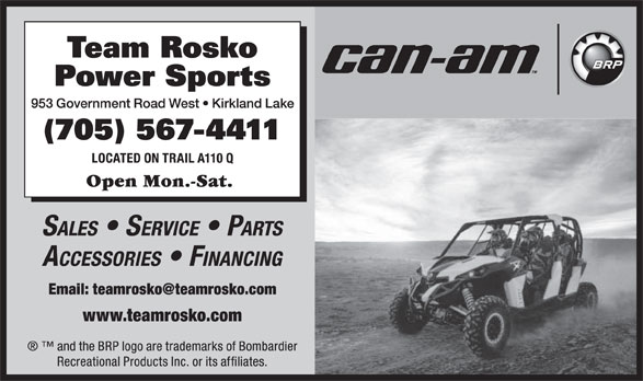Team Rosko Power Sports (705-567-4411) - Display Ad -