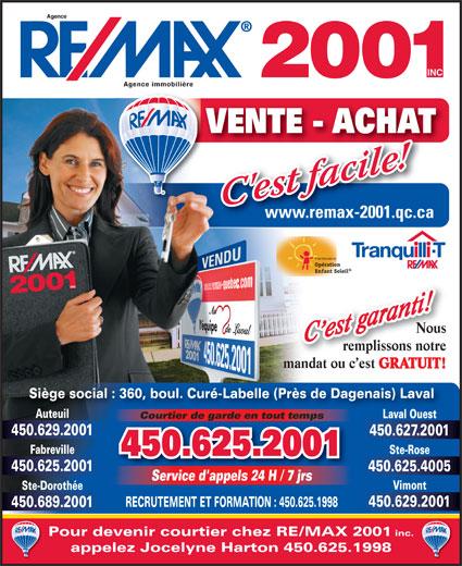 Re-Max 2001 Inc (450-625-2001) - Annonce illustrée======= -