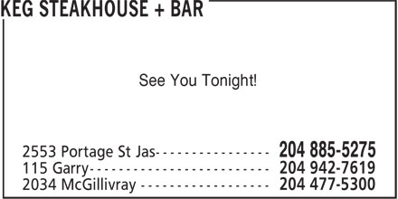 The Keg Steakhouse & Bar (204-885-5275) - Display Ad - See You Tonight! See You Tonight!
