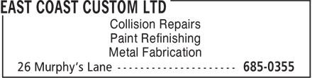East Coast Custom Ltd (709-685-0355) - Annonce illustrée======= - Collision Repairs Paint Refinishing Metal Fabrication