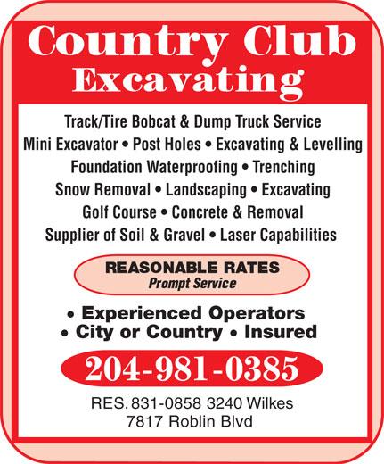 Country Club Excavating (204-981-0385) - Annonce illustrée======= -