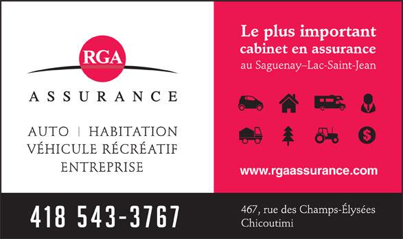 RGA Assurance (418-543-3767) - Annonce illustrée======= - www.rgaassurance.com