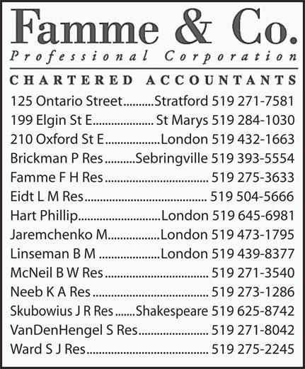 Famme & Co Professional Corporation Chartered Accountants (519-271-7581) - Display Ad - Linseman B M....................London 519 439-8377 McNeil B W Res..................................519 271-3540 Neeb K A Res......................................519 273-1286 Skubowius J R Res.......Shakespeare 519 625-8742 VanDenHengel S Res.......................519 271-8042 Ward S J Res........................................519 275-2245 125 Ontario Street..........Stratford 519 271-7581 199 Elgin St E....................St Marys 519 284-1030 210 Oxford St E..................London 519 432-1663 Brickman P Res..........Sebringville 519 393-5554 Famme F H Res..................................519 275-3633 Eidt L M Res........................................519 504-5666 Hart Phillip...........................London 519 645-6981 Jaremchenko M.................London 519 473-1795