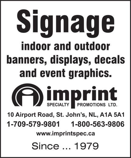 Imprint Specialty Promotions Ltd (709-579-9801) - Display Ad -