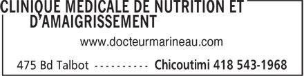 Clinique Médicale de Nutrition et D'Amaigrissement (418-543-1968) - Display Ad - www.docteurmarineau.com