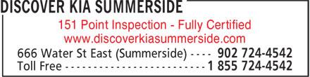 Discover Kia Summerside (902-724-4542) - Annonce illustrée======= - 151 Point Inspection - Fully Certified www.discoverkiasummerside.com