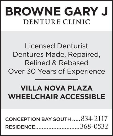 Browne Gary J Denture Clinic (709-834-2117) - Display Ad -