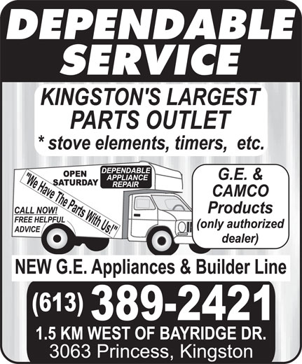 Dependable Appliances (613-389-2421) - Display Ad -