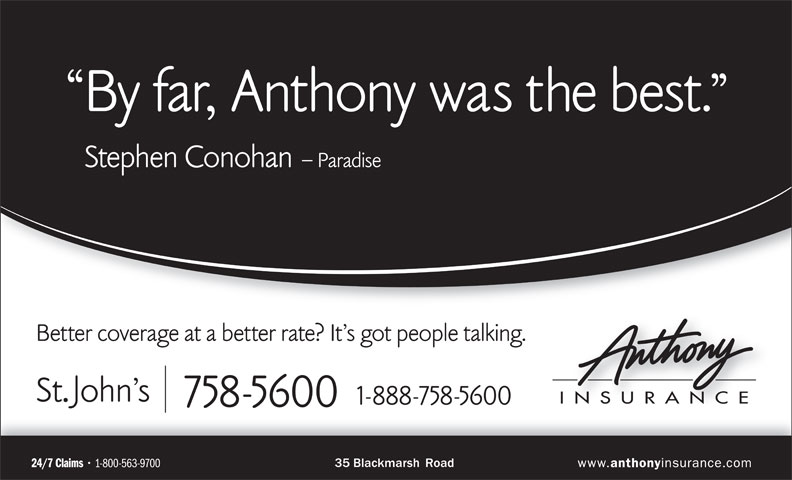 Anthony Insurance Inc (709-758-5600) - Annonce illustrée======= -