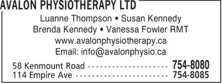Avalon Physiotherapy Ltd (709-754-8080) - Annonce illustrée======= - Luanne Thompson • Susan Kennedy Brenda Kennedy • Vanessa Fowler RMT www.avalonphysiotherapy.ca