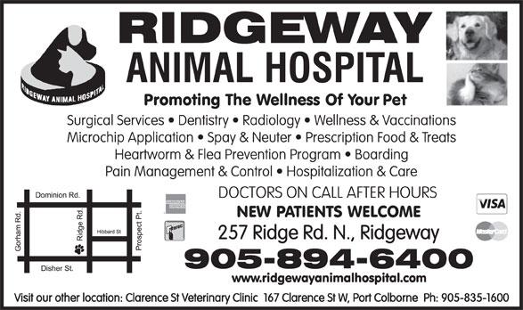Ridgeway Animal Hospital (905-894-6400) - Display Ad - DOCTORS ON CALL AFTER HOURS