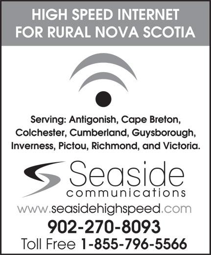 Seaside Communications (902-539-6250) - Annonce illustrée======= - 902-270-8093 Toll Free 1-855-796-5566