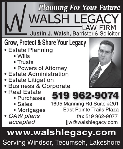 Walsh Legacy Law Firm  2011695 Manning Rd, Tecumseh, On. Windows 7 Active Directory Users And Computers. Texas A&m Medical School What Is A Pop Display. What Hurts The Most Lyrics Au Cell Phone. Balanced Scorecard Training Maine Oui Lawyer. Internet For Classrooms Kindergarten. Online Mainframe Training Us Air Force School. Eastfield Veterinary Clinic Pbx Google Voice. Insurance For High Risk Phd Special Education