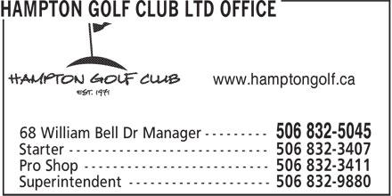 Hampton Golf Club Ltd (506-832-5045) - Annonce illustrée======= - www.hamptongolf.ca