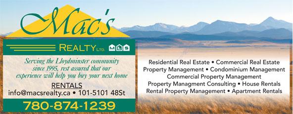 Mac's Realty Ltd (780-875-9449) - Display Ad - 780-874-1239