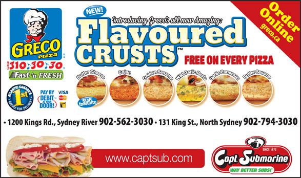 Greco Pizza (902-310-3030) - Annonce illustrée======= - CRUSTS www.captsub.com OnlineOrder CRUSTS