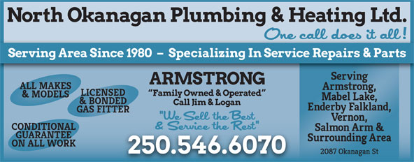 North Okanagan Plumbing & Heating Ltd (250-546-6070) - Display Ad -