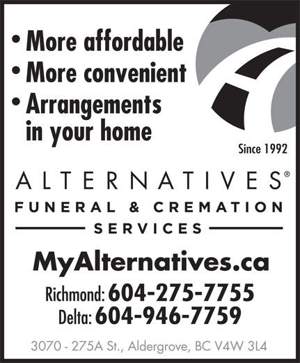 Alternatives Funeral & Cremation Services (604-275-7755) - Annonce illustrée======= -