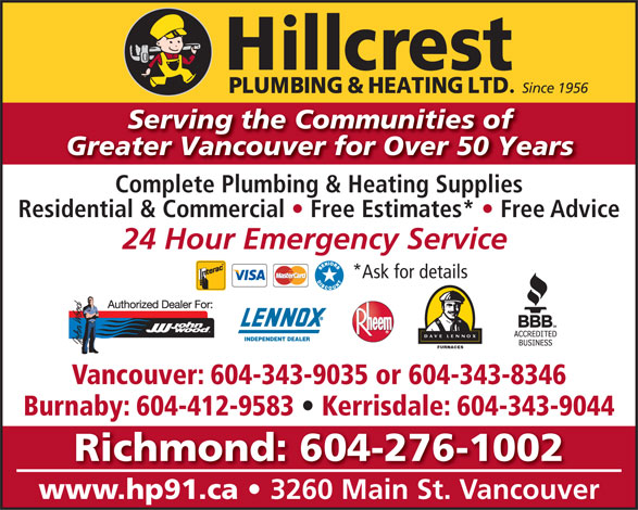 Hillcrest Plumbing & Heating (604-879-5301) - Annonce illustrée======= -
