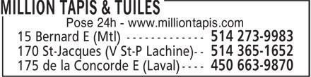 Million Carpets & Tiles (514-365-1652) - Display Ad -