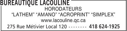"""Bureautique Lacouline Inc (418-624-1925) - Annonce illustrée======= - HORODATEURS """"LATHEM"""" """"AMANO"""" """"ACROPRINT"""" """"SIMPLEX"""" www.lacouline.qc.ca"""