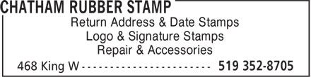 Chatham Rubber Stamp (519-352-8705) - Annonce illustrée======= - Logo & Signature Stamps Repair & Accessories Return Address & Date Stamps