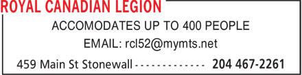 La Légion Royale Canadienne (204-467-2261) - Annonce illustrée======= - ACCOMODATES UP TO 400 PEOPLE