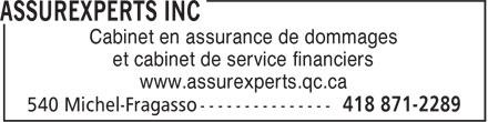 AssurExperts (418-871-2289) - Annonce illustrée======= - Cabinet en assurance de dommages et cabinet de service financiers www.assurexperts.qc.ca
