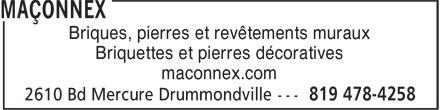 Maçonnex (819-478-4258) - Annonce illustrée======= - Briques, pierres et revêtements muraux Briquettes et pierres décoratives maconnex.com