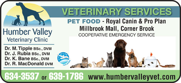 Humber Valley Veterinary Clinic (709-634-3537) - Annonce illustrée======= - VETERINARY SERVICES PET FOOD - Royal Canin & Pro Plan Millbrook Mall, Corner Brook COOPERATIVE EMERGENCY SERVICE Dr. M. Tipple BSc., DVM Dr. J. Rubia BSc., DVM Dr. K. Bane BSc., DVM Dr. R. MacDonald DVM www.humbervalleyvet.com 634-3537 or 639-1786 VETERINARY SERVICES PET FOOD - Royal Canin & Pro Plan Millbrook Mall, Corner Brook COOPERATIVE EMERGENCY SERVICE Dr. M. Tipple BSc., DVM Dr. J. Rubia BSc., DVM Dr. K. Bane BSc., DVM Dr. R. MacDonald DVM www.humbervalleyvet.com 634-3537 or 639-1786