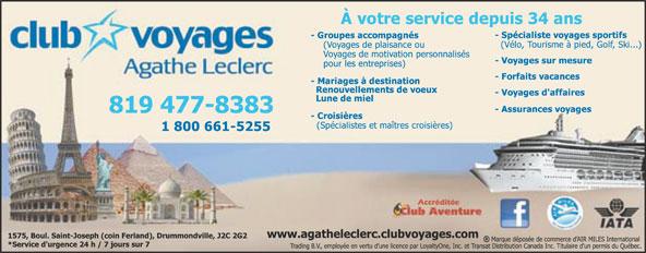 Club Voyages Agathe Leclerc (819-477-8383) - Annonce illustrée======= -