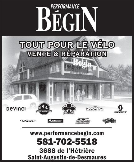 Performance Bégin (418-877-4018) - Annonce illustrée======= - TOUT POUR LE VÉLO 581-702-5518 3688 de l Hêtrière Saint-Augustin-de-Desmaures VENTE & RÉPARATION COMPOSITE TECHNOLOGY www.performancebegin.com