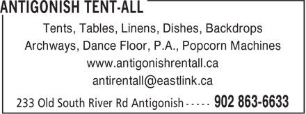 Antigonish Tent-All (902-863-6633) - Annonce illustrée======= - Tents, Tables, Linens, Dishes, Backdrops Archways, Dance Floor, P.A., Popcorn Machines www.antigonishrentall.ca