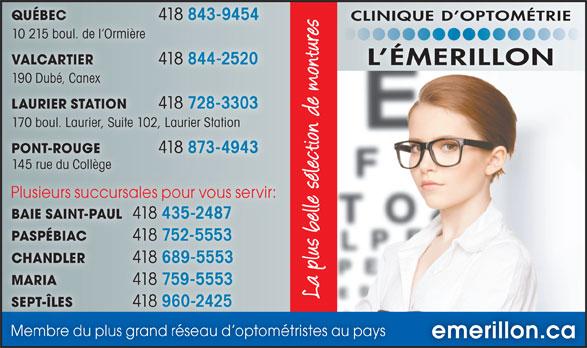 Clinique d'Optométrie l'Émerillon Inc. (418-844-2520) - Annonce illustrée======= -